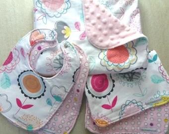 Baby Shower Gift, Baby Girl Gift, Baby Blanket, Bibs, Burp Cloths - Floral