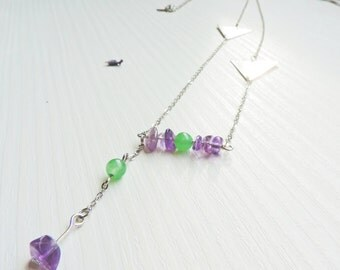 Amethyst necklace, Jade necklace, triangle, purple, mint, romantic, graphic, geometric