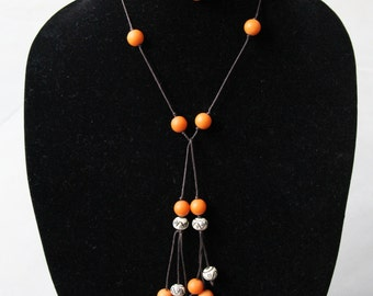 Handmade Recycled Bead and Cord Lariat Necklace