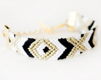 Embellished Friendship Bracelet with Chain Clasp // Diamond Pattern // Other Patterns Available
