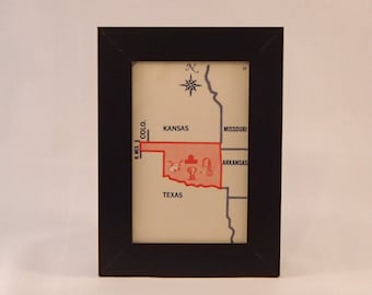 Oklahoma framed vintage state flash card
