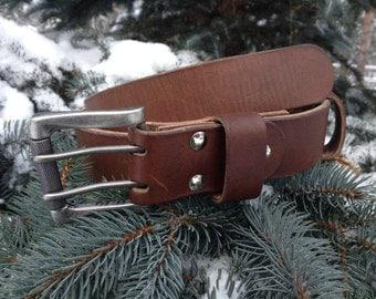 "1 1/2"" Buffalo leather men's belt. Genuine leather. Casual men's belt. 100% Handmade. Top quality."