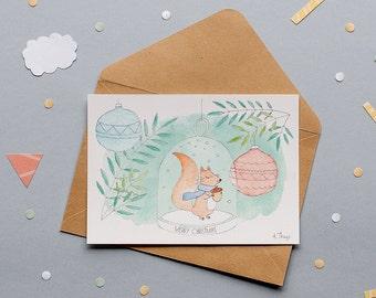 Christmas Squirrel - Print Postcard