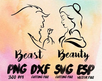 Disney couple beauty and the beast Clipart , SVG Cutting , ESP Vectors files , T shirt , iron on , sticker ,Personal Use
