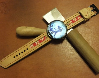 Handmade Moto 360 leather and Japanese fabric watch strap and buckle - tan