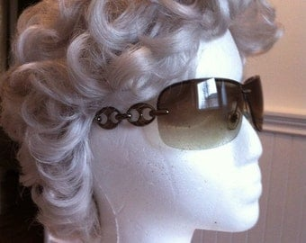 Vintage Glasses - Designer Sun Glasses - Wrap Around Style Eye Wear - Made in Italy - Tinted Shades - Gold Tone Decor Arms - Gift for Her