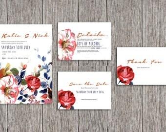 Personalised Wedding Invite Suite Floral