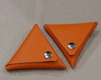 FREE SHIPPING, Triangle Coin Purse, Leather Coin Pouch, Earphone Keeper, Orange Leather Coin Pouch, Mini Coin Leather Purse.