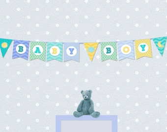 Personalized Baby Boy Bunting / Welcome Baby Boy Sign
