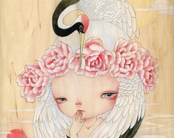 Crane Fairy-- limited edition print (6/60) by Yishu Wang