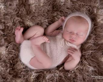 Newborn Angora Onesie Romper - Newborn baby photography prop set - Made to order