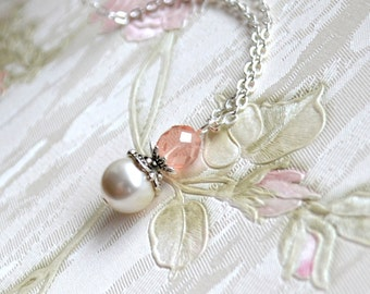 FREESHIP Pink wedding jewelry Pink bridesmaid necklace Pink Bridesmaid Jewelry Bridesmaid Gift Flower girl necklace Vintage weddings