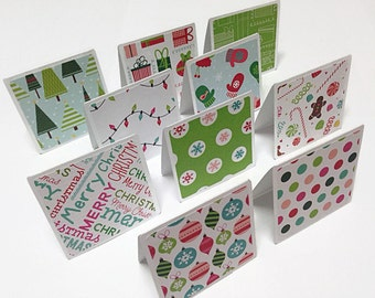 Set of 10 Mini Blank Christmas Note Cards. 3x3 Note Cards. Mini Christmas Cards. Mini Greeting Cards