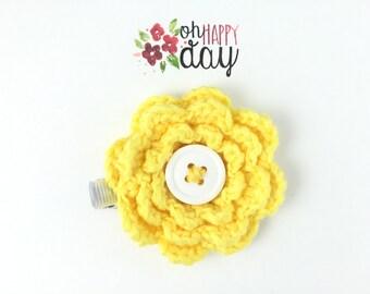 flower hair clip flower clip girls hair clip girls flower clip crochet flower yellow flower toddler hair clip women's hair clip cute clip