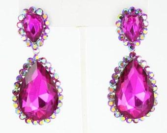 Fuchsia Earrings | Hot Pink Earrings | Fuchsia Pageant Earrings | Fuchsia Prom Earrings | Hot Pink Pageant Earrings | JE-4601-10