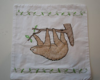 Embroidered Sloth Pillowcase