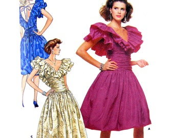 80's Butterick 5946 Morton Myles Design Formal/Party/Evening Ruched & Ruffled Dress in Three Lengths, Uncut, Sewing Pattern Size 8-12