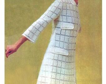 """Vintage 1970 Garden Party Crochet Dress Pattern, Bust Size 34"""" (86 cm), Garment 37.5"""" (95 cm),  Instant Download, PDF, 3 pages"""