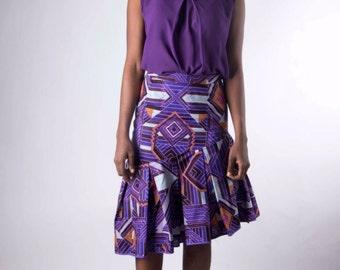 Dokadots Ankara Asymmetric Hem Skirt