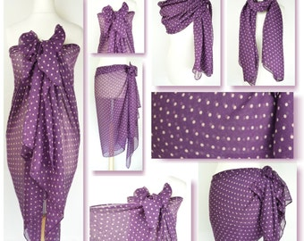 Purple Polka Dot Sarong, Pareo, Beach Cover Up, Resort Wear, Pool Wrap, Holiday Wear,Vacation,Pin Up Look, Retro Style, Classic Dot, Spotted