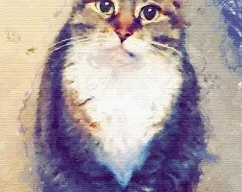 Custom cat portrait watercolor Art Cat lover gifts Personalized cat gift for pet lover portrait pet custom portrait