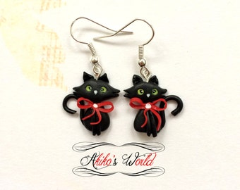 Kawaii black cats earrings