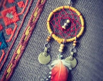 Dreamcatcher Traumfänger Pendant Natvie Feather Ethnic Bohemian Hippie Gipsy Tribal Necklace