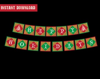 Printable Christmas Banner - Happy Holidays Banner - Christmas Decor - Instant Download