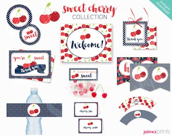 Instant Download Sweet Cherry Printable Party Collection, Red Cherry Party Printables, Cherry Party Printable, Vintage Cherry