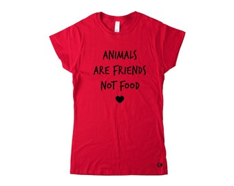 Animals are friends, not food in red