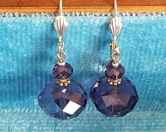 Silver Plated Purple Crystals leverback earrings 1.75 inches