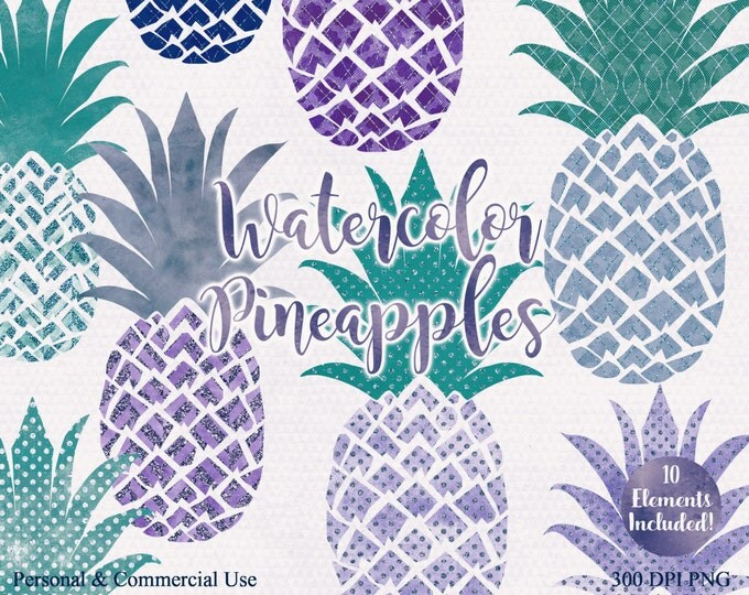 TEAL & PURPLE PINEAPPLE Clipart Commercial Use Clip Art Fun Tropical Clipart with Metallic Glitter 10 Watercolour Pineapple Planner Clip art