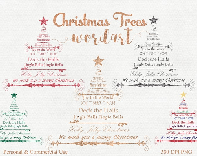 CHRISTMAS TREE CLIPART Commercial Use Clip Art Christmas Word Art Trees Metallic Gold Silver Foil & Glitter Christmas Trees Holiday Images