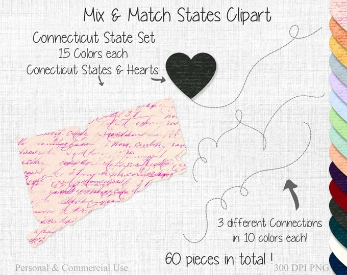 CONNECTICUT STATE to STATE Clipart Commercial Use Clipart Mix & Match States Wedding Clipart Connecticut Map 2 States Connected State Map