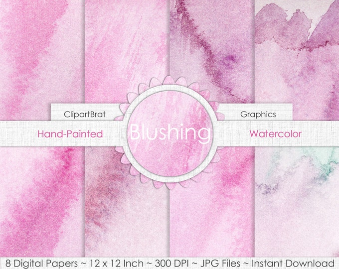 PINK WATERCOLOR Digital Paper Commercial Use Background Paper Light Pink BLUSH Watercolour HandPainted Real Watercolor Texture Digital Paper