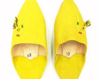 Yellow Moroccan Leather Babouche