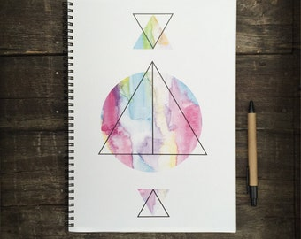 Eco Friendly A4 NoteBook- Colourful Geometric Triangles, Stationery Recycled Paper Lined Writing, Notebook, Writing Book, Organiser