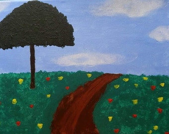 Field with a Dirt Road Painting