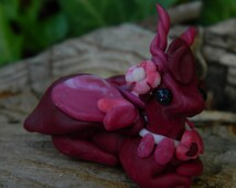 OOAK Flower dragon/ handmade sculpture/ adorable gift/ cute dragon