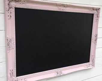 Large Framed Chalkboard Wedding Chalk Board Menu Chalkboard Seating Chart Sign Pink Nursery Wall Decor