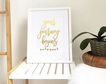 Your journey begins birds Gold Foil  Picture Print