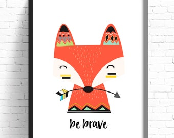 Tribal Fox Print - Nursery Prints - Kids Room Wall Art - A4 Print - 8x10 Print - Boys Bedroom Wall Art Decor Prints- Be Brave Print