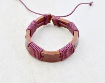 leather bracelet • men women • maroon