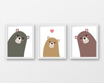 Printable Nursery Art / Set of Three Bear Family Wall Prints 8x10 / Three Bears Nursery Decor /  Kids Room Animal Art / Forest Nursery Art