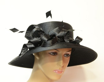 Black lady hat, Elegant, Beautiful, Kentucky Derby Hat, Wedding Hat, Formal Hat, Dressy Hat, Church Hat, Downton Abbey,