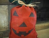 Burlap Pumpkin - Large Jack-O'-Lantern - Halloween Decoration - Fall Décor - Primitive Décor - Harvest - Rustic Pumpkin - Autumn