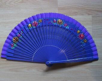 PURPLE Painted Wooden Folding Hand Fan