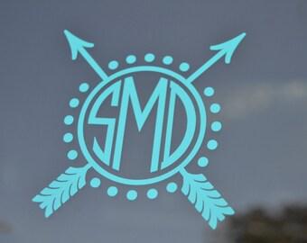 Arrow Monogram Decal - Monogram Yeti Decal - Arrow Decal - Arrow Car Decal - Monogram Car Decal - Car Decal - Yeti Decal - Monogram - Arrow