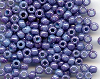 8/0, Opaque Light Blue Amethyst Marbled 1204, Japanese Glass Seed Beads 28g.