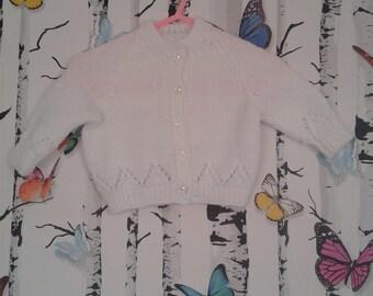 Girl's White Cardigan, Baby Girl, Handmade, Hand Knitted, Cardigan